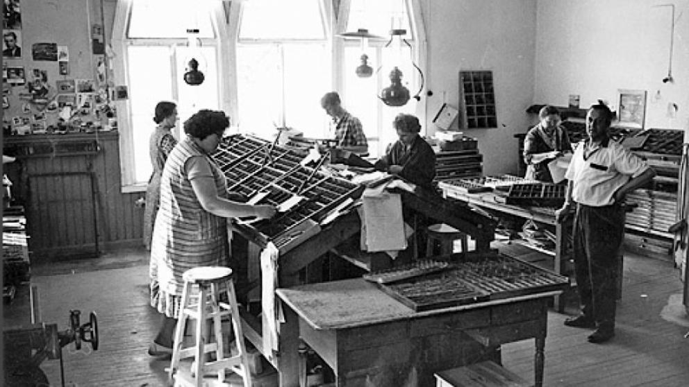 Handsättning på tryckeriet år 1961.