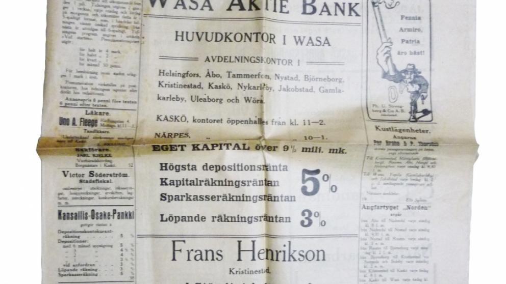 Första numret av Kaskö Tidning år 1914.
