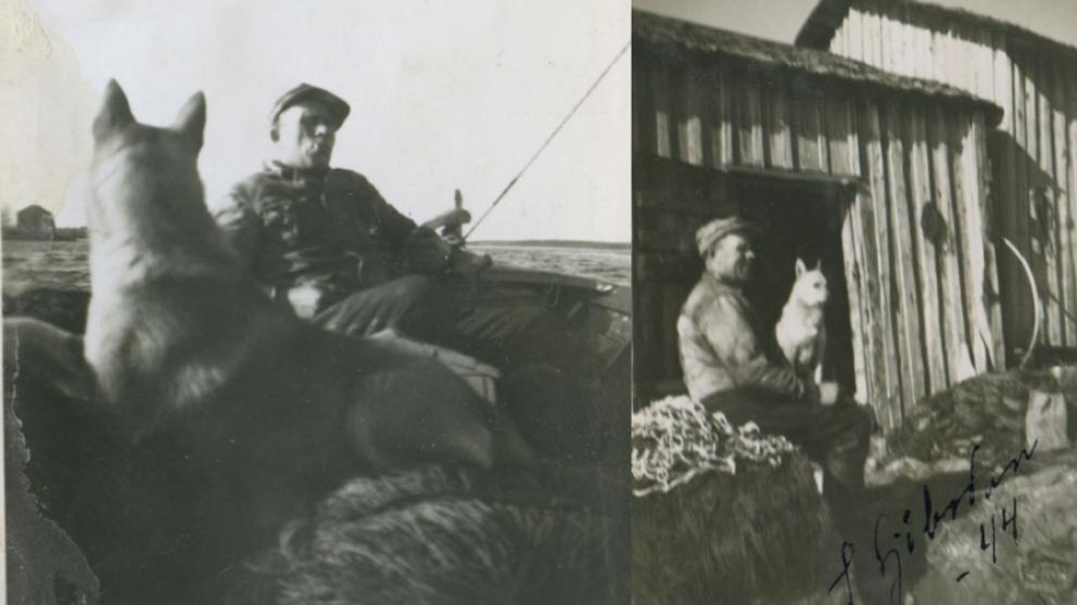 John Ekman with his dog Bella in the old fishing harbour and on his fishing boat.